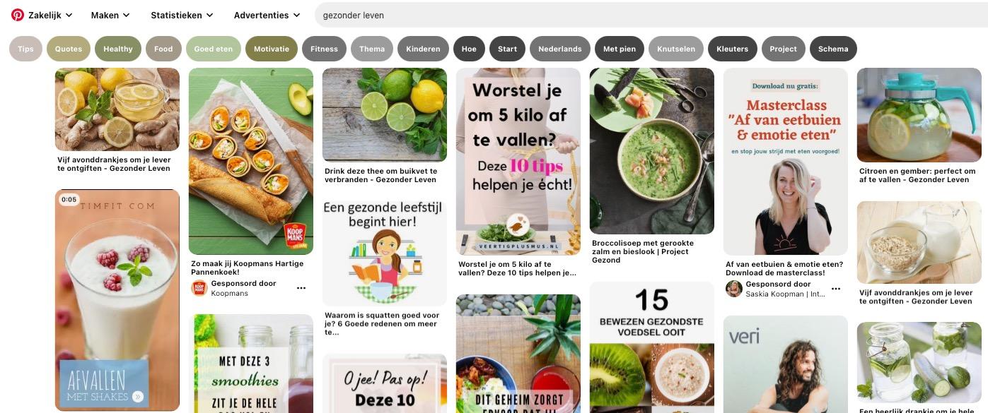 Pinterest voor beginners - Pinterest zoekopdracht gezonder leven