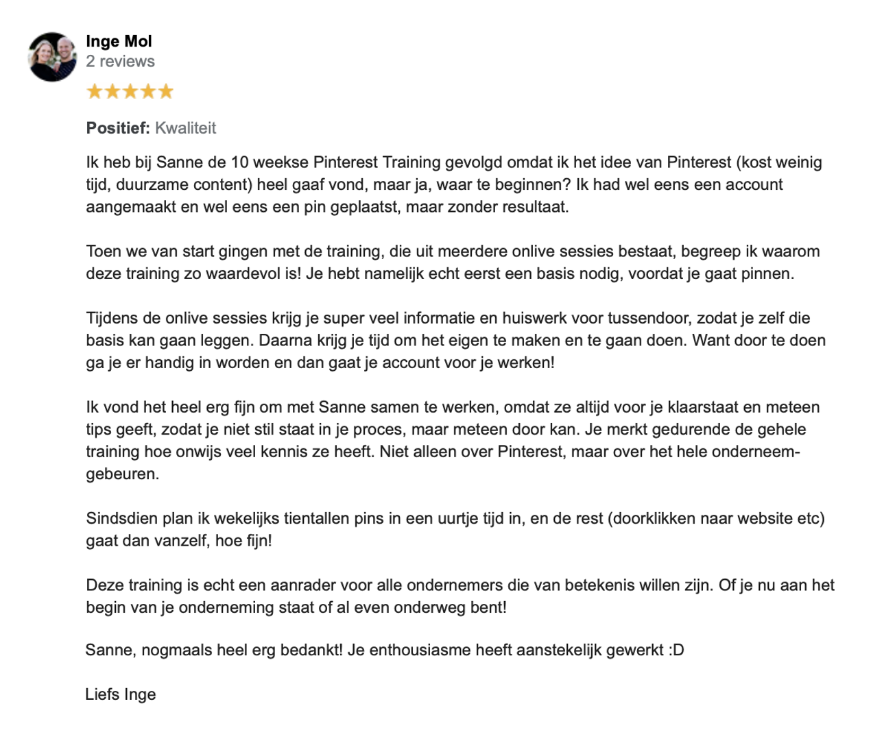 Review Inge Mol - Coach voor je leven - Pinterest Business School - Socially Sanne