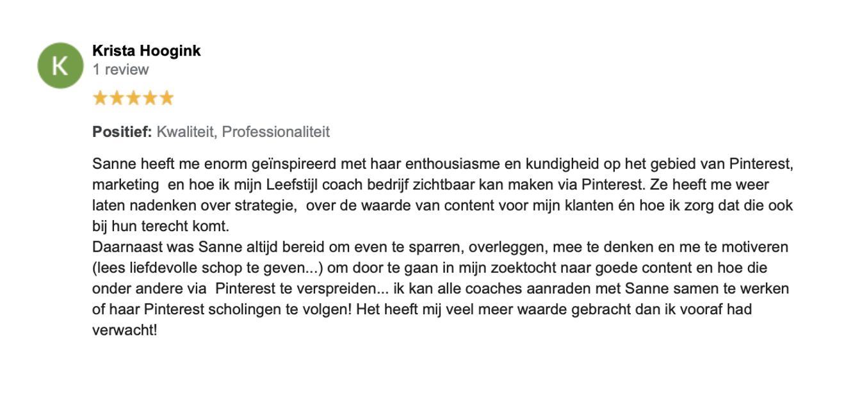 Review Krista Hoogink - Kriskracht - Pinterest Business School - Socially Sanne